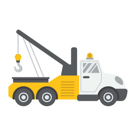Tow truck flat icon, transport and vehicle, service sign vector graphics, a colorful solid pattern on a white background, eps 10.