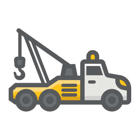 the wrecker: Tow truck filled outline icon, transport and vehicle, service sign vector graphics, a colorful line pattern on a white background, eps 10.