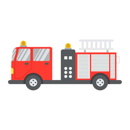 Het vlakke pictogram, het vervoer en het voertuig van de brandmotor, het teken vectorgrafiek van de brandvrachtwagen, een kleurrijk stevig patroon op een witte achtergrond, eps 10. Stock Illustratie