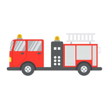 Icono, transporte y vehículo planos del camión de bomberos, gráficos de vector de la muestra del camión de bomberos, un modelo sólido colorido en un fondo blanco, EPS 10. Ilustración de vector