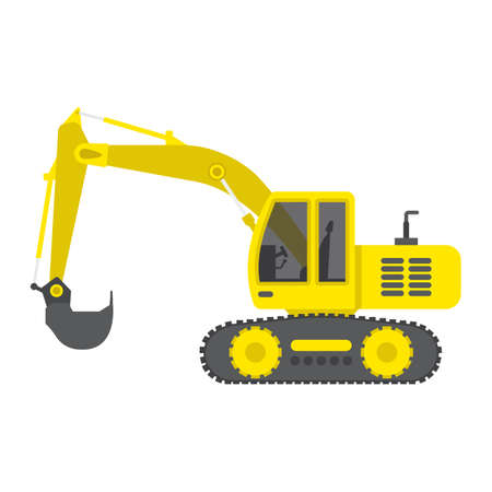 Excavator flat icon, transport and vehicle, digger sign vector graphics, a colorful solid pattern on a white background, eps 10.