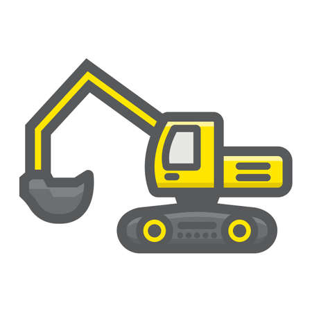 Excavator filled outline icon, transport and vehicle, digger sign vector graphics, a colorful line pattern on a white background, eps 10. Illustration