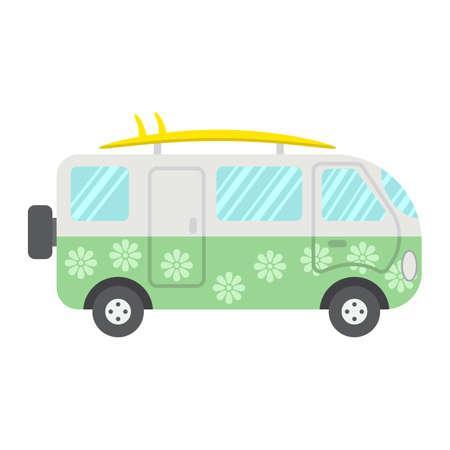 Flache Ikone des Surferpackwagens, Transport und Fahrzeug, Wohnmobilbuszeichenvektorgrafik, ein buntes festes Muster auf einem weißen Hintergrund, ENV 10.