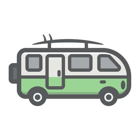 Surfer-Packwagen füllte Entwurfsikone, Transport und Fahrzeug, Wohnmobilbus-Zeichenvektorgrafik, eine bunte Linie Muster auf einem weißen Hintergrund, ENV 10.