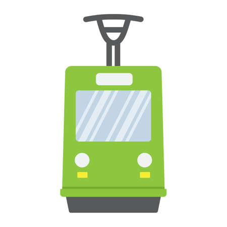 Tram flat icon, transport and railway, train sign vector graphics, a colorful solid pattern on a white background, eps 10.