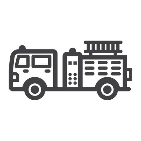Fire Engine Filled Outline Icon Transport And Vehicle