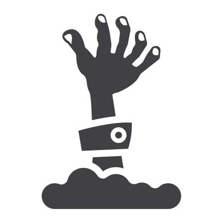 Zombie hand glyph icon, halloween and scary, dead sign vector graphics, a solid pattern on a white background, eps 10.