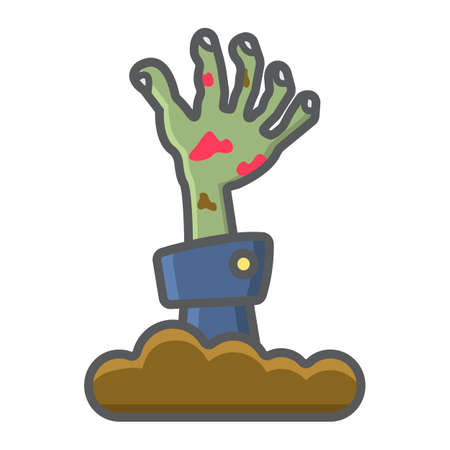 Zombie hand filled outline icon, halloween and scary, dead sign vector graphics, a colorful line pattern on a white background, eps 10. Illustration