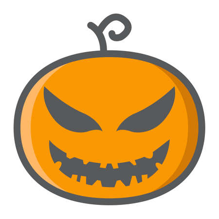 filled: Halloween Pumpkin filled outline icon, halloween and scary, evil sign vector graphics, a colorful line pattern on a white background, eps 10.