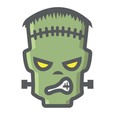 Frankenstein filled outline icon, halloween and scary, horror sign vector graphics, a colorful line pattern on a white background, eps 10. Illustration