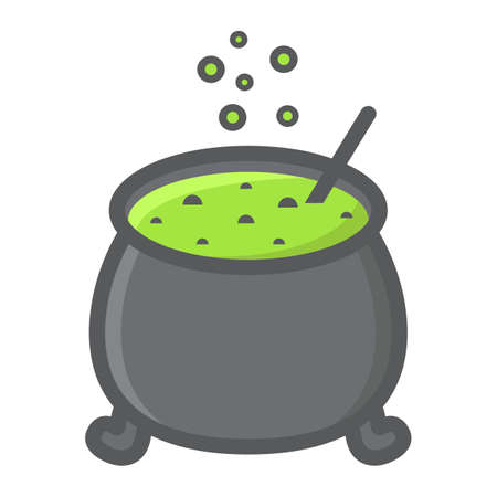 Witch cauldron filled outline icon, halloween and scary, witchcraft sign vector graphics, a colorful line pattern on a white background, eps 10.