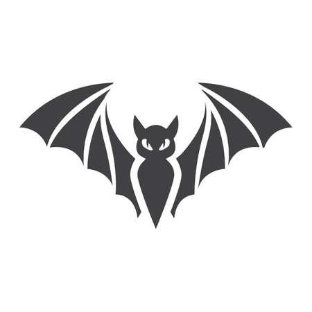 박쥐 글리프 아이콘, 할로윈 및 무서운, 동물 기호 벡터 그래픽, 흰색 배경에 단색 패턴, 분기 EPS 10.