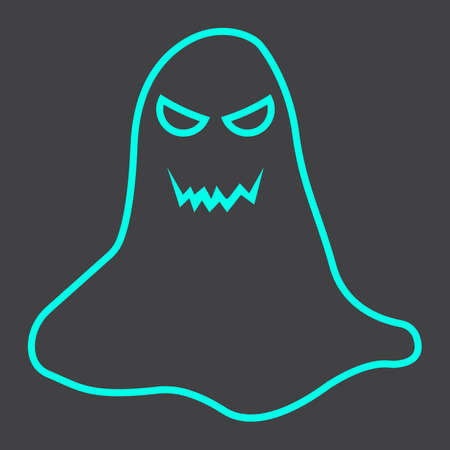 ghostly: Ghost line icon, halloween and scary, horror sign vector graphics, a linear pattern on a black background, eps 10.