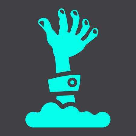 Zombie hand glyph icon, halloween and scary, dead sign vector graphics, a solid pattern on a black background, eps 10.