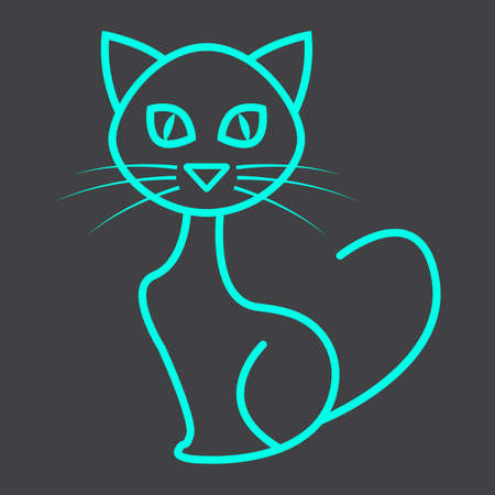 silueta de gato: Cat line icon, halloween and scary Vectores