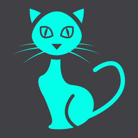 silueta de gato: Cat glyph icon, halloween and scary