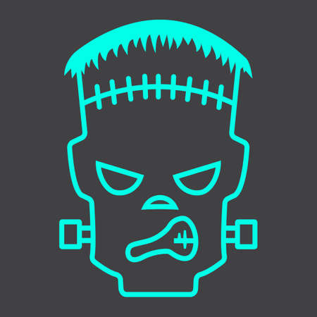 Frankenstein line icon, halloween and scary Illustration