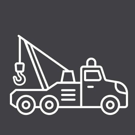 Tow truck line icon, transport and vehicle Illustration