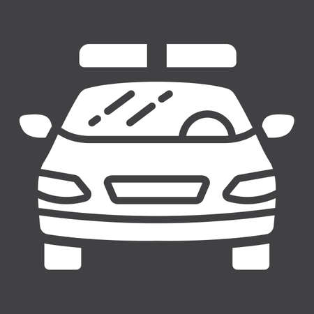 squad: A solid police car glyph icon pattern on a black background.
