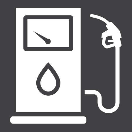 A gas station glyph icon on a black background.