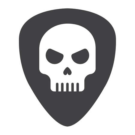 Guitar pick with skull glyph icon, music and instrument, skull sign vector graphics, a solid pattern on a white background, eps 10.