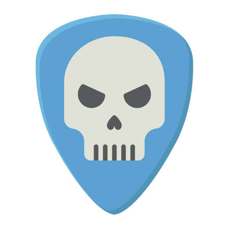 Guitar pick with skull flat icon, music and instrument, skull sign vector graphics, a colorful solid pattern on a white background, eps 10.