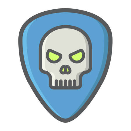 Guitar pick with skull filled outline icon, music and instrument, skull sign vector graphics, a colorful line pattern on a white background, eps 10.