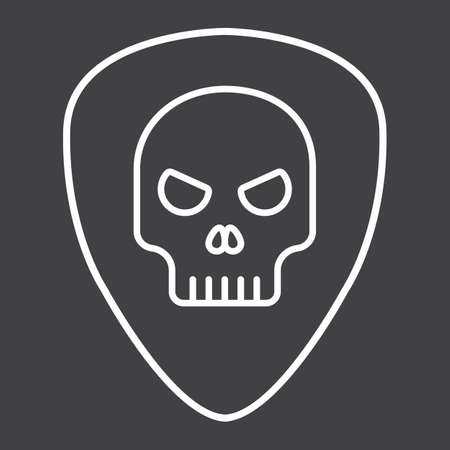 Guitar pick with skull line icon, music and instrument, skull sign vector graphics, a linear pattern on a black background, eps 10.
