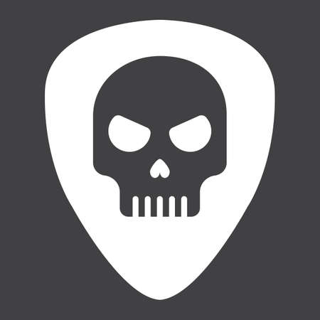 Guitar pick with skull glyph icon, music and instrument, skull sign vector graphics, a solid pattern on a black background, eps 10.