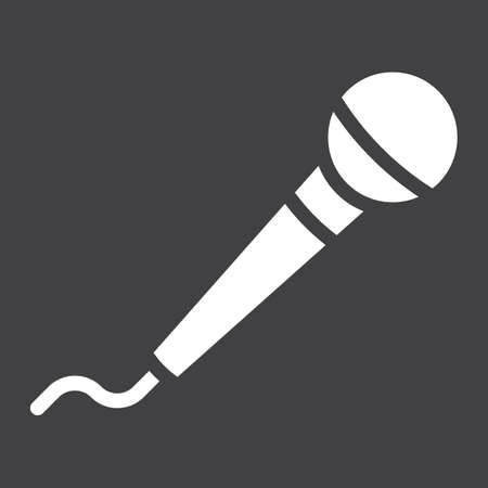 Microphone glyph icon, music and instrument, karaoke sign vector graphics, a solid pattern on a black background, eps 10.