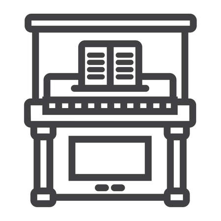 Piano line icon, music and instrument, melody sign vector graphics, a linear pattern on a white background, eps 10.