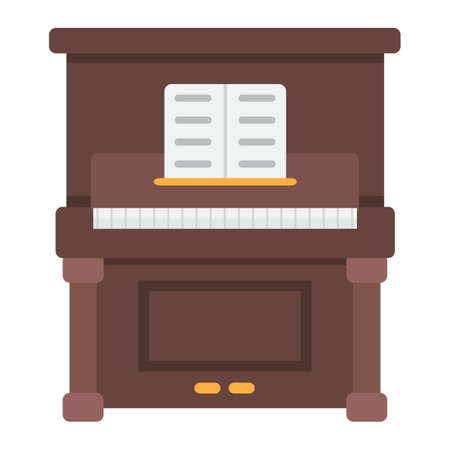Piano flat icon, music and instrument, melody sign vector graphics, a colorful solid pattern on a white background, eps 10.