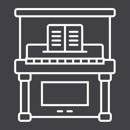 Piano line icon, music and instrument, melody sign vector graphics, a linear pattern on a black background, eps 10.