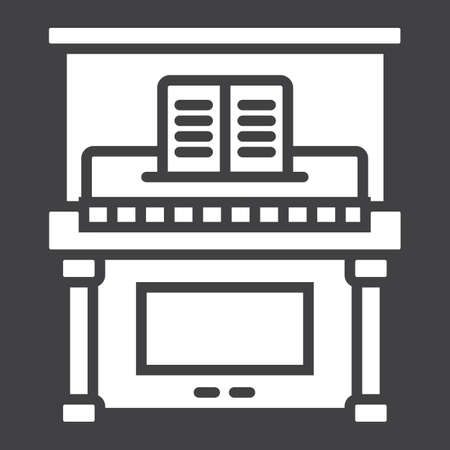 Piano glyph icon, music and instrument, melody sign vector graphics, a solid pattern on a black background, eps 10. Illustration