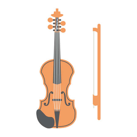 shiny buttons: Violin flat icon, music and instrument, sound sign vector graphics, a colorful solid pattern on a white background, eps 10.