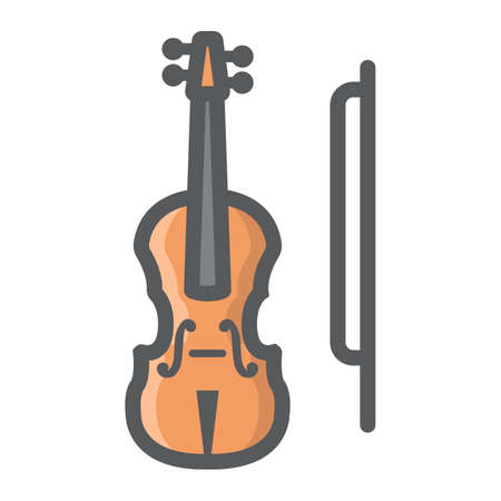 shiny buttons: Violin filled outline icon, music and instrument, sound sign vector graphics, a colorful line pattern on a white background, eps 10. Illustration