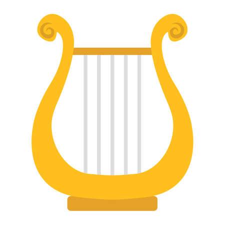 古代ギリシャの竪琴フラット アイコン、音楽、楽器、ハープ記号ベクトル グラフィック、eps 10、白地にカラフルな固体パターンです。  イラスト・ベクター素材