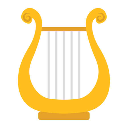 Ancient Greek Lyre flat icon, music and instrument, harp sign vector graphics, a colorful solid pattern on a white background, eps 10.