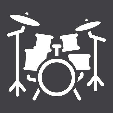 Drum kit glyph icon, music and instrument, beat sign vector graphics, a solid pattern on a black background, eps 10.