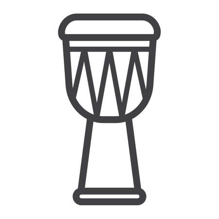 African Djembe Drum line icon, music and instrument, sound sign vector graphics, a linear pattern on a white background, eps 10.