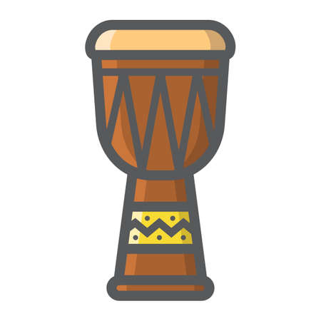 jazz drums: African Djembe Drum filled outline icon, music and instrument, sound sign vector graphics, a colorful line pattern on a white background, eps 10.
