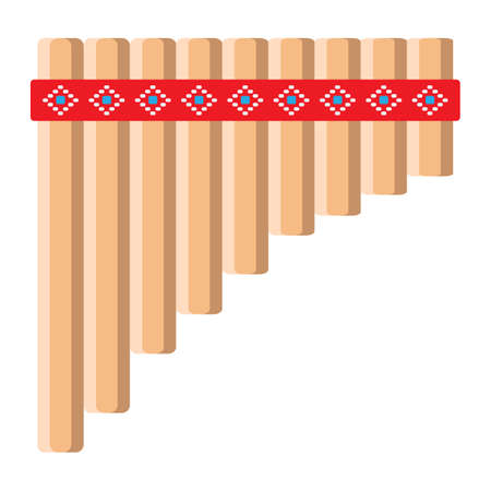 Mexican pan flute icon, clip-art design illustration.