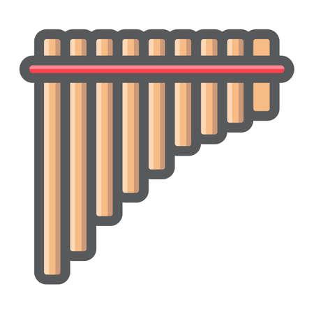 Icono de flauta de pan mexicano, ilustración de diseño de clip art.