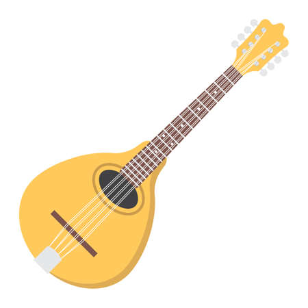 Mandolin flat icon, music and instrument, sound sign vector graphics, a colorful solid pattern on a white background, eps 10.