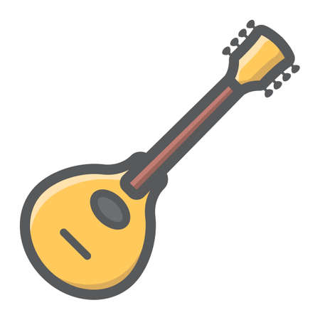 Mandolin filled outline icon, music and instrument, sound sign vector graphics, a colorful line pattern on a white background, eps 10. Illustration