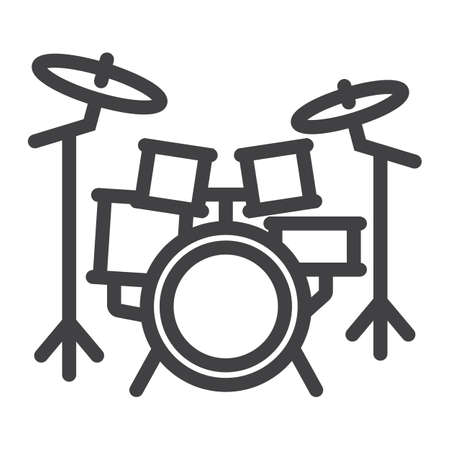Drum kit line icon, music and instrument, beat sign vector graphics, a linear pattern on a white background, eps 10. Illustration