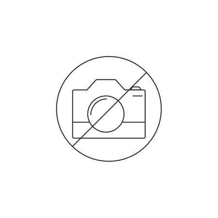 使用カメラに禁止ライン アイコン、アウトラインおよび固体記号、線形および完全の絵文字なし撮影アイコン イラスト白で隔離。  イラスト・ベクター素材