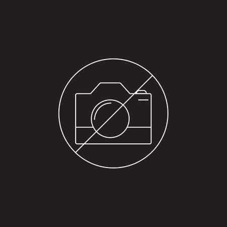 使用カメラに禁止ライン アイコン、アウトラインおよび固体記号、黒地、いいえ撮影アイコン イラスト分離された線形および完全のピクトグラム。  イラスト・ベクター素材