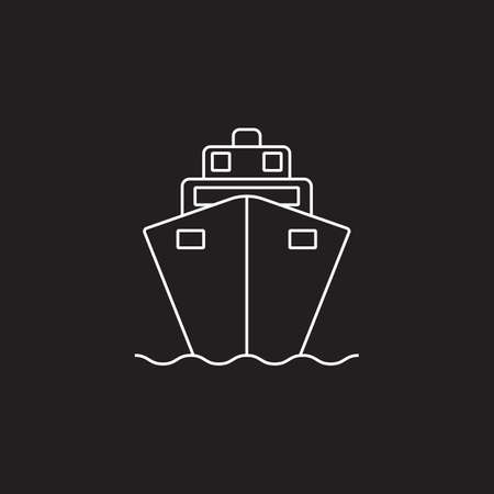 Cruise ship line icon, outline vector illustration, linear pictogram on black background.