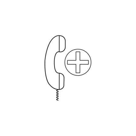 Medical call  center line icon, outline phone vector illustration, linear pictogram on white background. Illustration